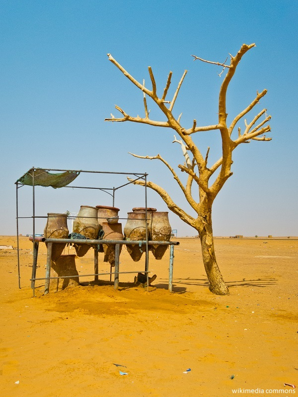 A set of traditional wat jugs at a rest stop between Khartoum and Karima, Sudan.